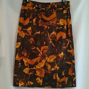NY&Co Stretch Floral Brown Pencil Skirt
